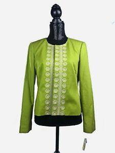 NWT Talbots Petites Womens Green Blazer Jacket Size 10
