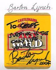 BARTON LYNCH ~ SURFING WORLD CHAMPION ~ HAND SIGNED BEER LABEL ~ XXXX GOLD