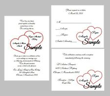 100 Personalized Custom Double Red Heart Names Wedding Invitations Set