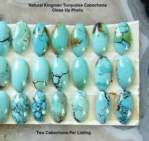 Elongated Oval Kingman Turquoise Cabochon 8mm x 16mm, Natural Arizona Turquoise