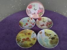 """Pier 1 Floral Flowers Butterlies Appitizer Salad Plates 8"""" Set of 4 with box"""