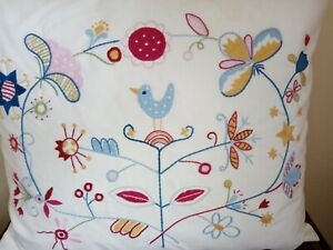 ' IKEA ' FLORAL / BIRD  EMBROIDERED CUSHONS