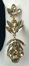 """Elegant! 2.75"""" Long Gold Crystal Earrings, Drag Queen, Prom, Bridal, Pageant"""