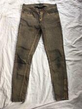 ZARA BASIC UK8 Skinny Cheville Fermeture Éclair Jeans Gold Dust effet utilisé Très bon état Bargain