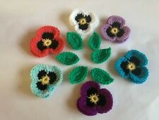 6 New Lovely Crochet Pansies Flowers and 6 green Leaves Applique Embellishment