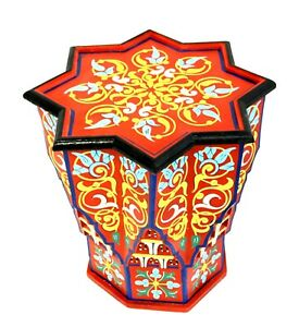 Moroccan Side Table Red Star Painted Handmade Accent Corner End Piece Authentic