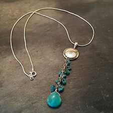 """*¨¨*:•925 STERLING SILVER TURQUOISE MEDICINE WHEEL 16"""" NECKLACE•:*¨¨*:•."""