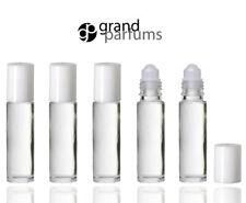 6 CLEAR Roll On Bottles w/ WHITE CAPS Premium Roller Balls for Perfume, Essenti