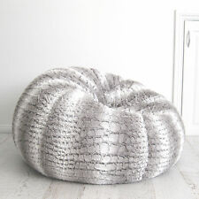 FUR BEANBAG Cover + Insert Soft Silver Grey White Husky Bean Bag Lounge Chair