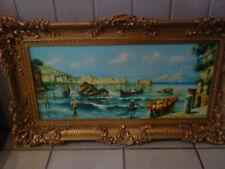 altes Bild-Gemälde-ca.74 x 34cm-Ölbild-Kunstdruck-Fischer am Meer im Goldrahmen