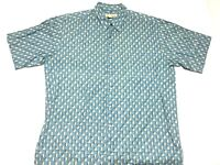Tori Richard Hawaiian Shirt Cotton Lawn Size XL Blue Geometric Camp Square