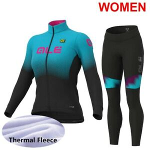 Womens Winter Thermal Fleece Long Sleeve Bike Tops Bib Pants Kit Bicycle Outfits