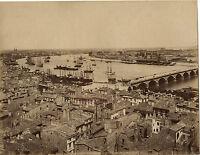 Francia Bordeaux La Garonne Vista Generale, Albumina Vintage Ca 1880