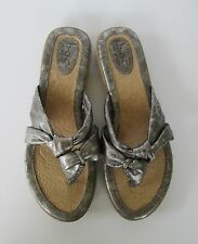 Born Concept BOC Womens Lovely Silver Thong Slides Flats Sandals Shoes 10 or 42