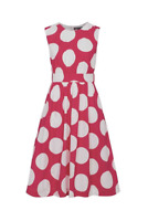 Emily and Fin Pink with White Giant Polka Lucy Dress Long Sample Sale
