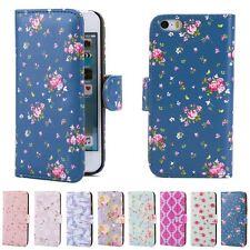 32nd? Floral Design Leather Wallet Case for Apple iPhone 5 5s SE DESIGNER Style