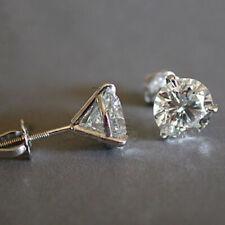 FJ- Women Shiny Rhinestone Three-Prong Screw Ear Stud Earrings Jewelry Gift Myst