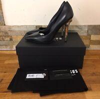 VERSUS VERSACE Black  Embellished Lion Heels Size UK 5/EU 38