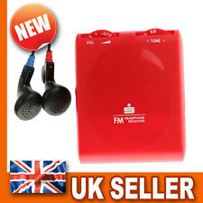 Pocket Portable FM Radio - Stereo Earphones Headphones - Belt Clip - RED Mini