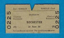 Railway Ticket ~ BR(S) 2nd Single - Chatham to Rochester - 1964
