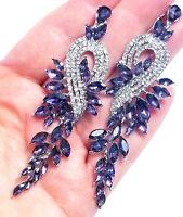 Chandelier Earrings Rhinestone Purple Crystal 3.5 in