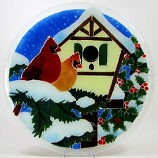 "Peggy Karr CARDINAL BIRDHOUSE 13.75"" Round Platter Fused Glass Mint Snow Holly"
