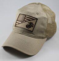 USMC United States Marine Corps - EGA-US Flag Patch Mesh Hat Khaki
