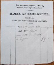 Angers, France 1841 Letterhead: 'Hotel de Bourgogne' - French