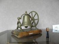 vintage Hotel Desk Bell Ring roon service Reception Shop Foyer wood Brass vtg