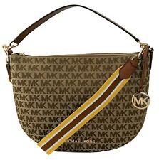 Michael Kors Bedford Hobo Shoulder Bag Beige Brown Canvas Logo Jaquard Medium