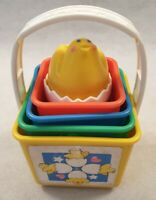 Vintage Fisher Price Stacking & Nesting Blocks with Duckling Toy Sounds 1986