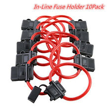 10 Pack In-Line Fuse Holder ATC/ATO Type Fuse Red Wire 16 Gauge 25AMP Blade Fuse