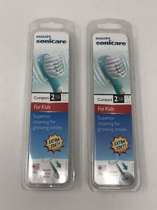2 Of Phillips Sonicare Compact For Kids 4 Replacement Toothbrush Heads Totally