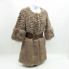 Gorgeous Ladies Brown/Tan Genuine Fur Coat Fox? Jacket - Medium See Measurements