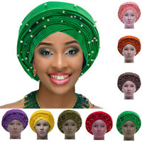 Women Beaded Turban Hat Wrap Head Scarf African Muslim Cancer Chemo Cap Hijab !