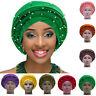 Women Beaded Turban Hat Wrap Head Scarf African Muslim Cancer Chemo Cap Hijab