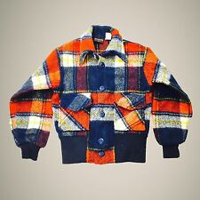 Vtg 70s Van Heusen Jacket Sportswear Kids Childrens Wool Plaid Sz 8 Made In USA