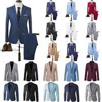 Men Tuxedos Jacket + Pant Slim Fit Business Formal Party Wedding Blazer Suit Top