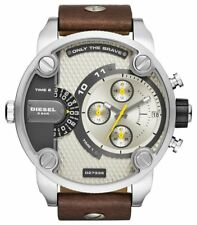 NEW DIESEL DZ7335 Watch Daddy Chrono OverSized unisex Leather Strap MEN Women!