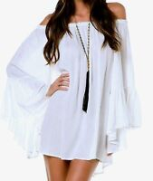 Elan-Ruffle Bell Sleeve Off Shoulder Tunic Top/Dress -RY555-One Size Rayon/Poly
