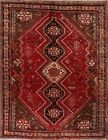Vintage Tribal Geometric Abadeh Area Rug Wool Hand-Knotted Oriental Carpet 7x10
