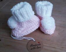Newborn Knitted Baby pom pom booties Pink/White