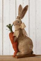 New Primitive Country Folk Art BURLAP CARROT BUNNY Rabbit Easter Doll Figure