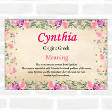 Cynthia Name Meaning Floral Certificate