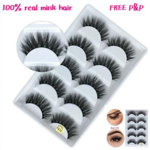 🌟NEW 5Pair 3D Mink False Eyelashes Wispy Cross Long Thick Soft Fake EyeLashes🌟