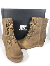 Sorel Joan of Arctic Wedge II Women's Sz 9 Brown WP Leather Lace Up Boots X2-207