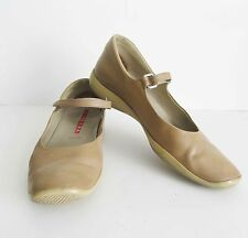 Authentic PRADA  Nude Beige Leather Mary Jane Flats Sz EU 38.5 US 8.5