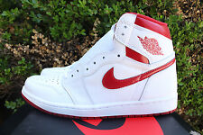 NIKE AIR JORDAN 1 RETRO HIGH OG SZ 9 WHITE VARSITY RED 555088 103