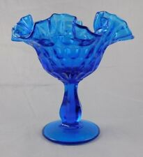 Beautiful Large Fenton Blue Glass Compote Candy Dish w/ Thumbprint Design