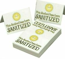 25 Sunbed Tanning Salon Sanitized Signs Foldable Display Hygiene Cleaned Cards